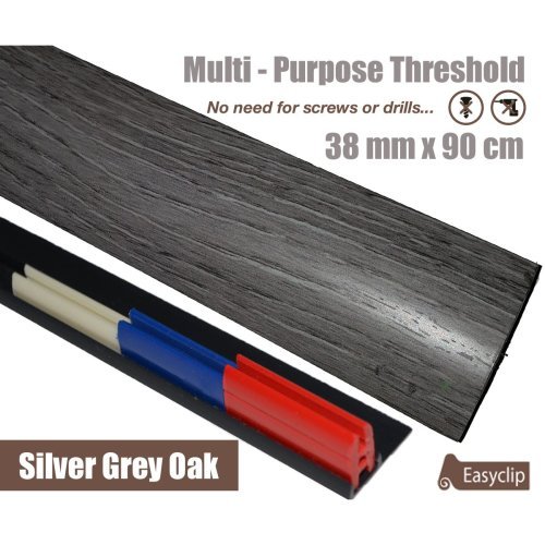 Silver Grey Multi Purpose Threshold Strip 38x90cm Adhesive Clip System