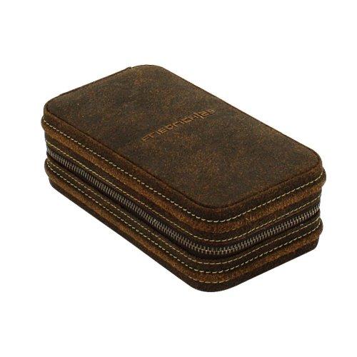Friedrich|23,Case For 2Watches, 7.5x 16.5x 4.5cm, Brown, Genuine Leather, Zip, 27019-6