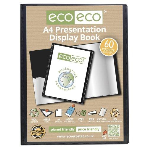 1 x A4 Recycled 60 Pocket(120 Views) Presentation Display Book - Black