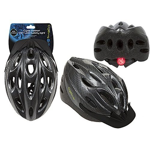 Shine Unisex Cycling Helmet,Adjustable Lightweight Bicycle Bike Mountain Road for Men and Women (BLACK WITH LED (LARGE))