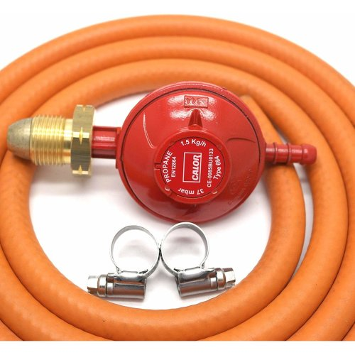 Calor Gas Brand 37Mbar Screw on Propane Gas Regulator 1mt Hose & 2 Clips