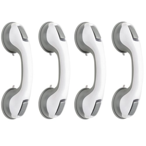 GLOW Set of 4 Safety Grip Handles – High Quality Universal Compact and Portable Support Grab Ability Hand Bar Rail with Firm and Secure Suction Cup Attachment and Quick Release Levers - Useful Bath, Shower and Toilet Disability and Mobility Aid - No