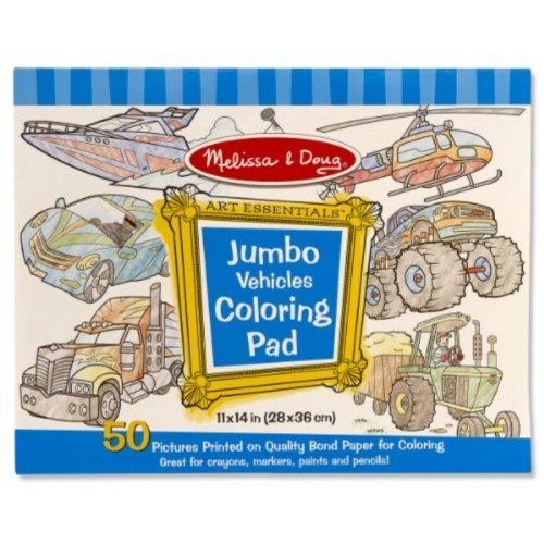 Melissa & Doug Jumbo Coloring Pad: Vehicles - 50 Pages of White Bond Paper (11 x 14 inches)