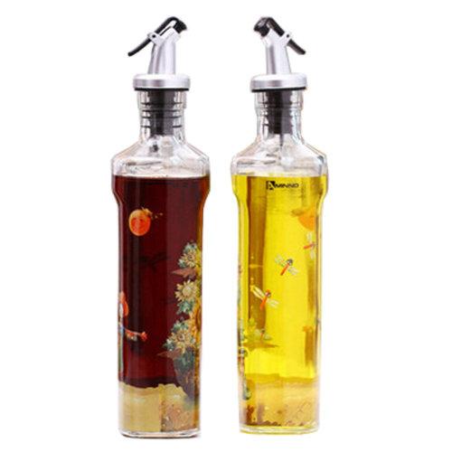 2PCS Household Vinegar Bottle Glass Bottle Oil Container Oil Jar, NO.15