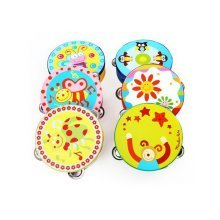 Set of 2 Adorable Cartoon Tambourines Toddle's Music Toy RANDOM COLOR