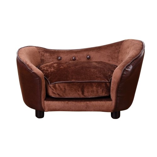 Pawhut Pet Sofa Dog Bed Home Indoor Couch House W/ Cushion Coffee
