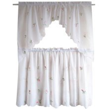 Sweet Embroidered Curtain Kitchen Curtain Coffee Screen-A Set
