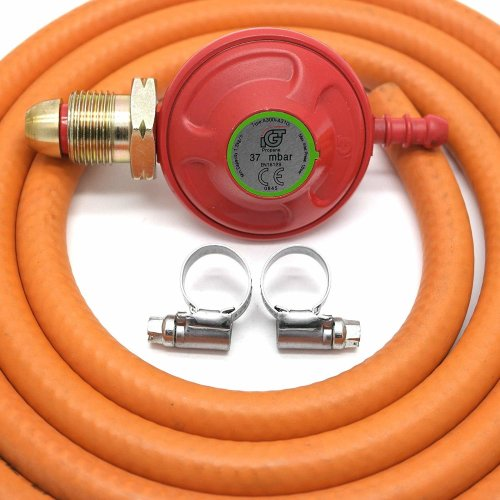 Igt 37Mbar Propane Gas Regulator & 1 Metre Hose With 2 Clips 5 Year Warranty