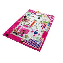 Kids Childrens Rug Play Mat in Playhouse Pink Design 160 x 230cm