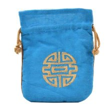 5PCS Handcraft Pouch Purse Mini Drawstring Bag Pocket Embroidery, Light Blue
