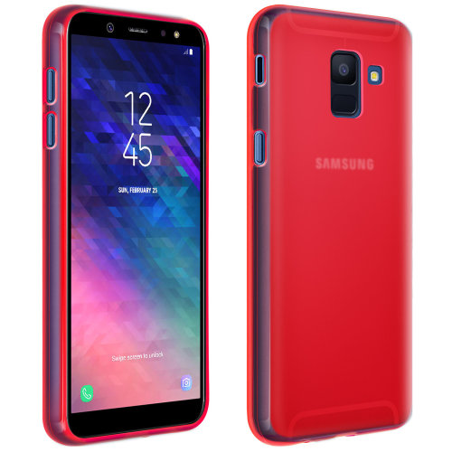 newest collection 191c9 e8e65 Silicone case, Glossy & matte back cover for Samsung Galaxy J6 - Red