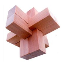 2 PCS Challenging Wood Brain Teaser Puzzle Disentanglement Puzzles, Style 6