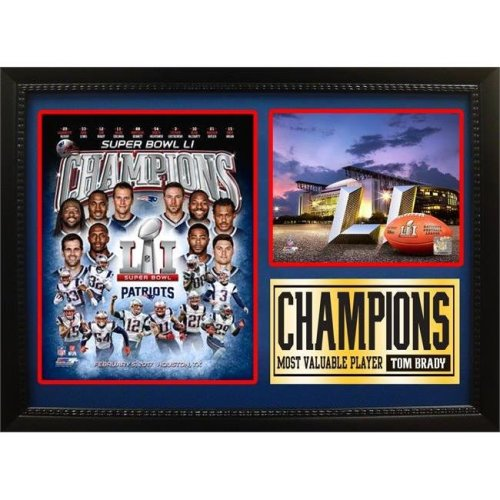 Encore Select 297-68 12 x 18 in. Photo Stat Frame - Super Bowl 51 Champions, New England Patriots