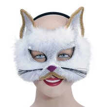 White Glitter Cat Mask On Headband