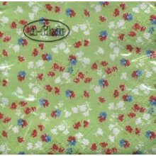 Ti-Flair Pack of 20 Napkins / Serviettes - Millefleurs In Green - 33cm x 33cm - 3ply