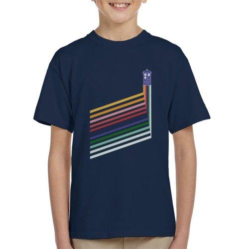 Doctor Who Tardis Rainbow Stripes Kid's T-Shirt