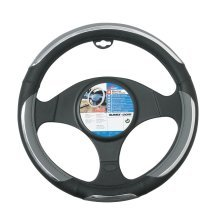 37-39cm Grey Snake Print Wheel Cover - Car Steering Glove Black Chrome Pvc -  car steering wheel cover glove snake grey black chrome pvc 3739cm