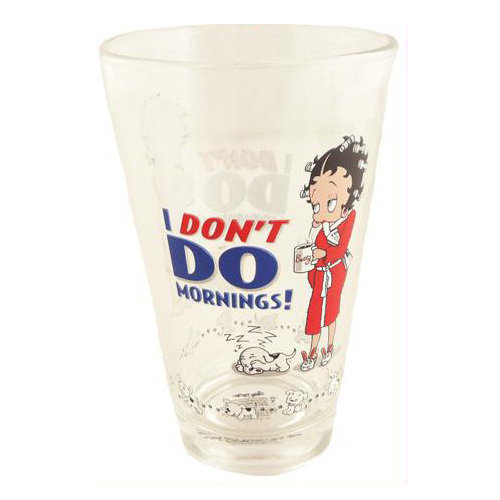Betty Boop Half Pint Glass - I Don't Do Mornings