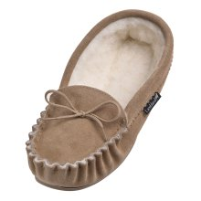 Ladies Premium Moccasin Slippers With PVC Sole