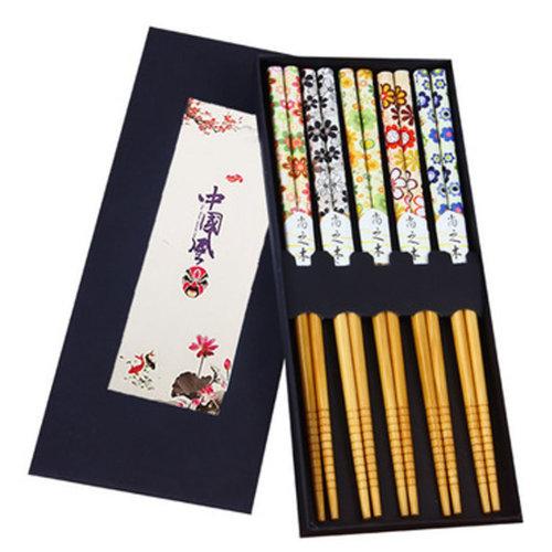 Chopsticks Reusable Set - Asian-style Natural Wooden Chop Stick Set with Case as Present Gift,#3