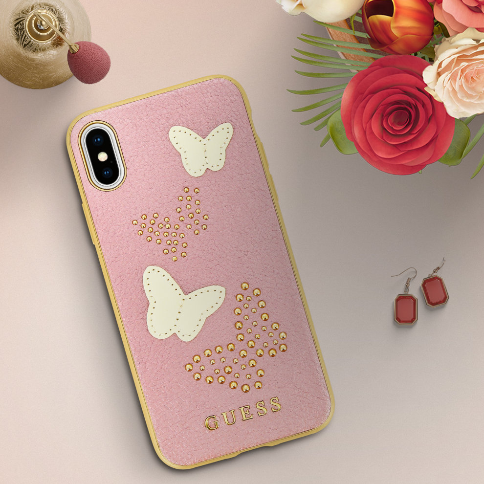detailed look f20df 3c1cf Guess gold glitter butterfly faux leather case for Apple iPhone X/XS - Pink
