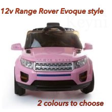 12V KIDS ELECTRIC RANGE ROVER EVOQUE STYLE RIDE ON CAR JEEP CHILDREN PINK WHITE