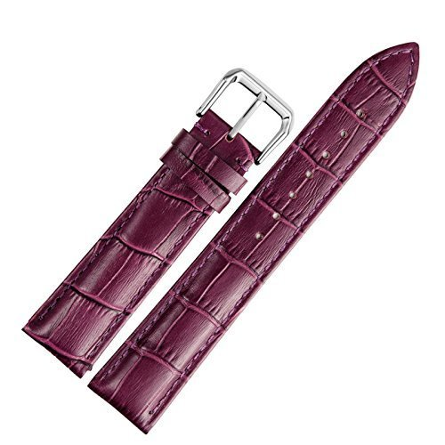 18mm Ladies' Purple Leather Watch Band Straps Replacement Genuine Calf Hide Lightly Padded