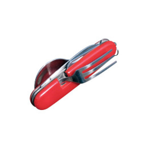 BCB CN223 Folding KFS Knife Fork Spoon Set With Can & Bottle Opener and Lanyard Attachment