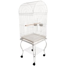 PawHut Metal Rolling Bird Cage Pet Parrot Carrier House with 1 Perch Stand & 2 Stainless Bowls Mobile Casters Slide-out Tray White