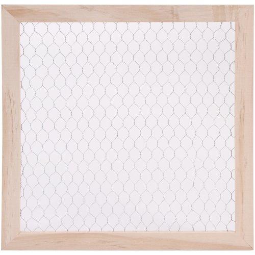 """Wood Chicken Wire Frame-12""""X12"""""""