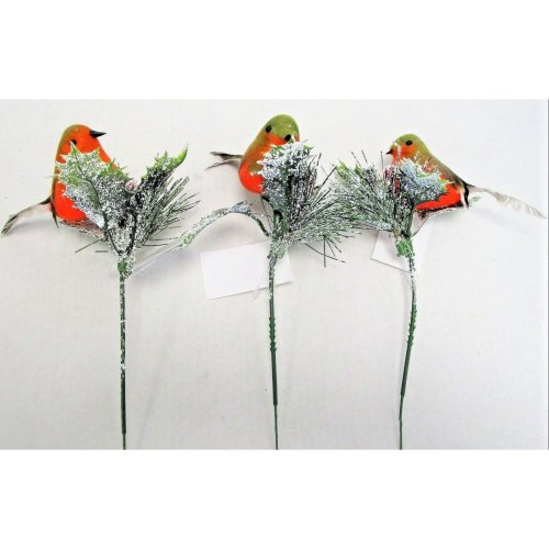 Set of 3 Robin & Snowy Holly Picks - 18cm - Christmas Birds Winter Berries