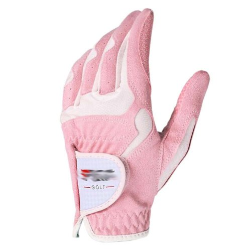 Classic Simple Design Women Golf Gloves Non-slip Sport Gloves(Pink&White) #17