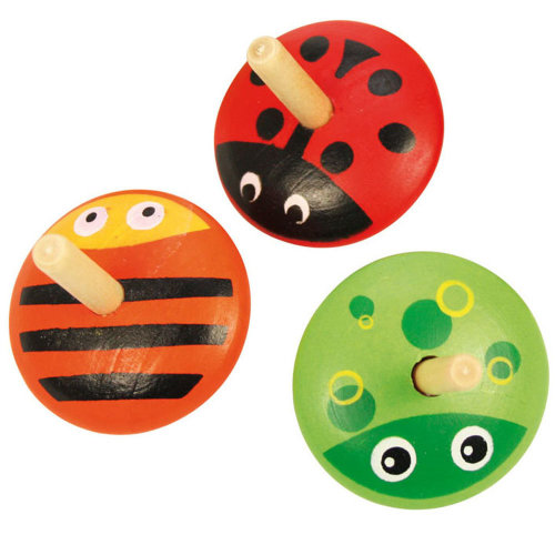 Bigjigs Toys Colourful Wooden Animal Spinning Top Toys - Children's Small Toys and Gifts