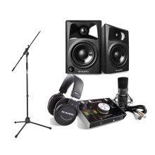 M Audio M-Track 2x2 Vocal Studio Pack, M-Audio AV 32 Studio Monitors & Mic Stand