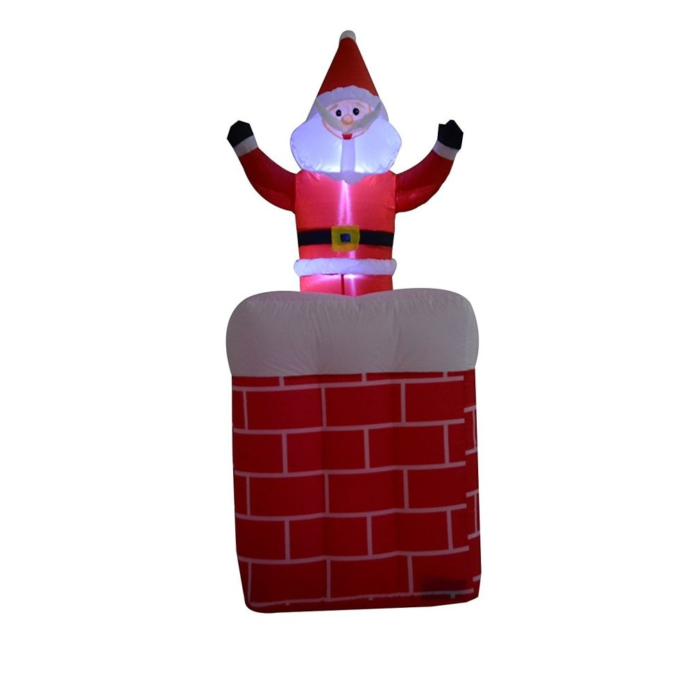 Homcom 180cm christmas lighting blow up inflatable santa for 180 degrees christmas decoration