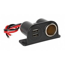 Lampa 38967 Mains Power 12/24 V Twin Socket With Usb - Connector 1224 Accessory -  lampa connector usb 1224v accessory mit dual extrapower socket twin