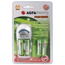 AGFAPHOTO Economy Overnight Charger - Supplied with 4xAA 800mAH Batteries
