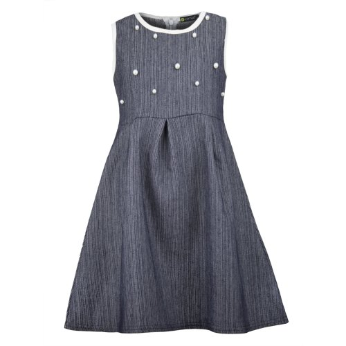 Girls Denim Dress With Pearl Details
