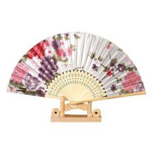 Hand Held Folding Fan With a Fabric Sleeve Vintage Retro Style Holding Fan