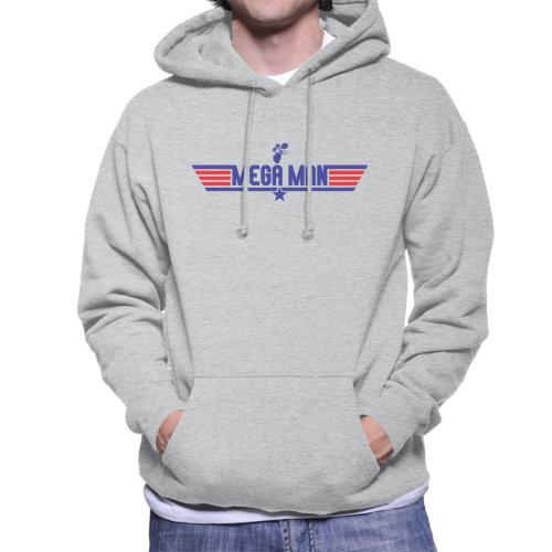 (Medium, Heather Grey) Top Gun Logo Mega Man Men's Hooded Sweatshirt