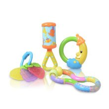 Baby Ratlle Toys Colorful Green Teether Toy Set(4 Pieces of Teethers)