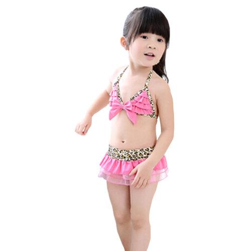 Leopard Style Little Girls Swimsuit Kids Two-pieces Bikini Swimwear 5T Pink