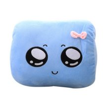 Cute Hand Hold Pillow Office Nap Rest Pillow Big Eyes Emoji Warm Hand Cover Blue