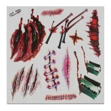 Set of 8 Halloween Scared Tattoo Stickers, Disposable and Waterproof [I]