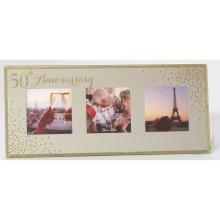 50th Anniversary Celebrations Sparkle Triple Photo Frame WG83550