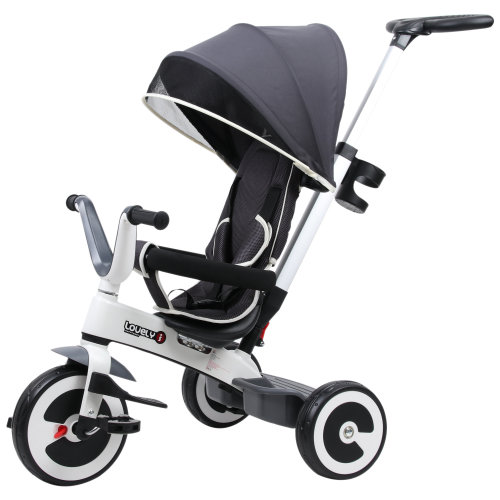 HOMCOM Baby Tricycle Children's 4 In 1 Trikes Kids Stroller W/ Canopy 3 Wheels - Dark Grey