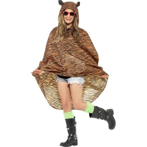 Adults Festival Ponchos Mens Ladies Party Animal Fancy Dress Costume Showerproof