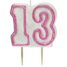 Age 13 Birthday Candle Pink Glitz
