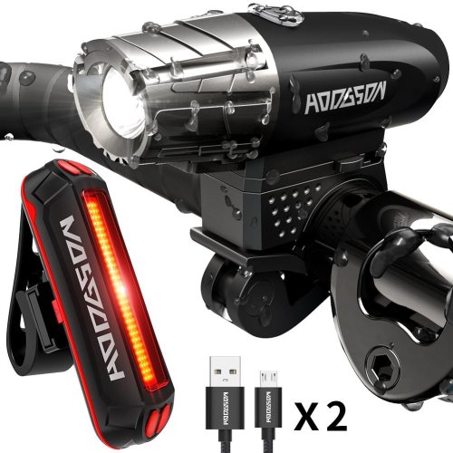 HODGSON Bike Light Front and Rear Light, 400 Lumens Bicycle Lights, USB Rechargeable Bike Light Set Super Bright LED Headlight Taillight...