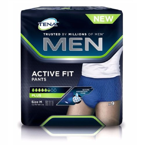 9pk Tena Men Active Fit Pants Plus - Medium | Men's Incontinence Underwear